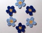 Applique Blue Flowers - Crochet