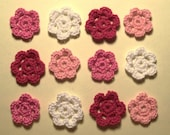 Mini Crocheted Pink, White and Red Rosettes (12)