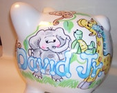 Personalized Piggy Bank -Baby Animals 2 Boy Pastels Handpainted