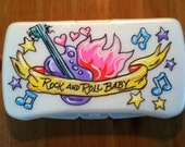 Personalized Baby Wipes Travel Case - Rock and Roll Girl - Handpainted