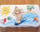 Personalized Baby Wipes Travel Case Sock Monkey Handpainted