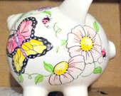 Personalized Piggy Bank Purple or Pink Butterfly Ladybugs and Large Flowers Handpainted