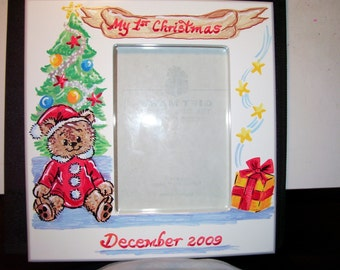 Picture Frame My First Christmas  Hand Painted and Personalized  5 x 7