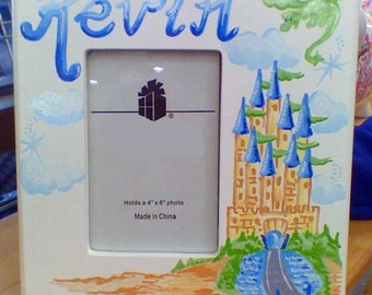 Picture Frame - Hand Painted Personalized Castle and Dragon