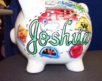 Personalized Piggy Bank - Cars, trucks and traffic signs Things That Go VROOM handpainted