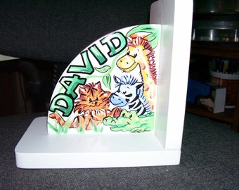 Children's Bookends - Handpainted and Personalized - Safari Theme