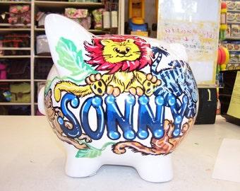 Personalized Handpainted Piggy Bank  Baby Animals Lion Giraffe Monkeys