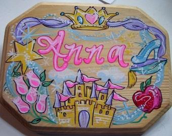 Handpainted Girls Princess Theme Wood Plaque Door Sign
