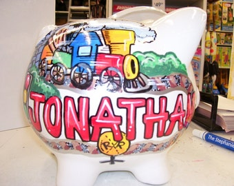 Personalized Piggy Bank Train Theme