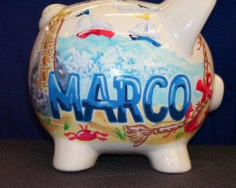 Personalized Piggy Bank -  Nautical Theme -  Handpainted