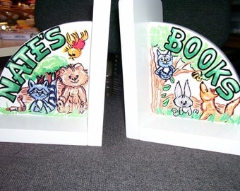 Children's Bookends - Handpainted and Personalized - Forest Animals