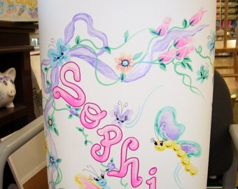 Hamper - Handpainted and Personalized - Butterflies and Flowers