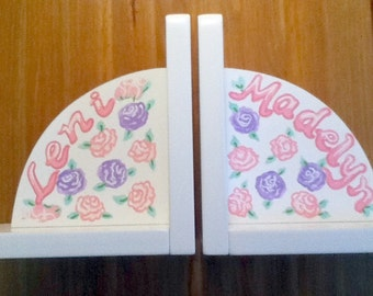 Childrens Bookends - Pink and Purple Pastel Roses - Handpainted and Personalized