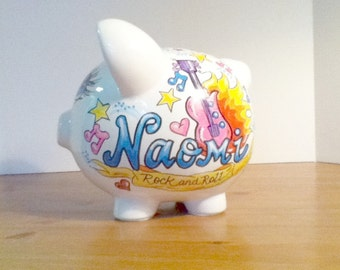 Personalized Handpainted Piggy Bank Rock and Roll Girl