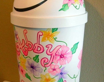 Hamper Tropical Flower Design Bright Pastel Colors Handpainted and Personalized