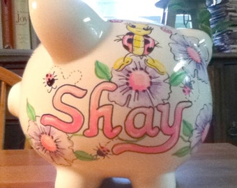 Personalized Handpainted Piggy Bank Hot Pink Ladybugs And Lilac Flowers