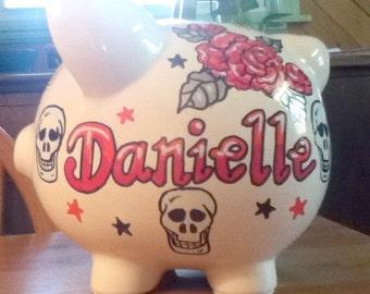 Personalized Piggy Bank Rose Tattoo Funky Skulls Wild Child