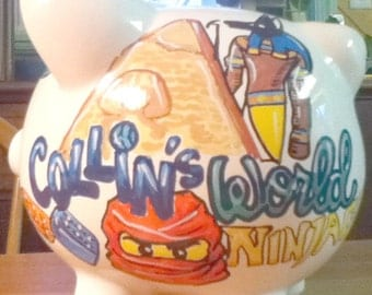 My World Custom Personalized Piggy Bank With Items of Your Choice
