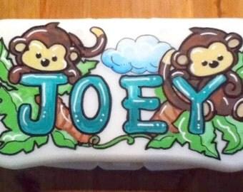 Baby Wipes Travel Case Personalized Boy Monkeys Jacana Style Handpainted