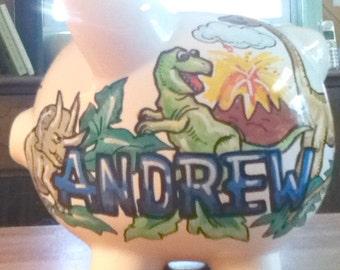Childrens Handpainted Piggy Bank  Dinosaur Design Ceramic Bank