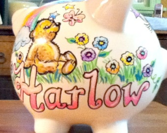 Personalized Piggy Bank Bear Rainbow Flowers and Stars Handpainted