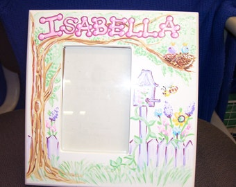 Personalized Picture Frame Your Choice of Stymiepie Studios Designs 5 x 7 Handpainted