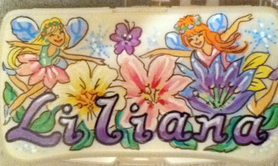Baby Wipes Travel Case Fairies and Flowers Handpainted and Personalized