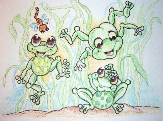 Frog Follies - Froggies- Art Print - 8.5 x 11