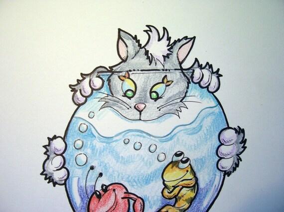 Children's Art Print - Somethings Fishy Cat and Fish - 8.5 x 11