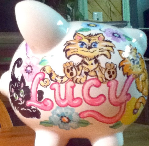 Personalized Piggy Bank Kittens Flowers Pastel Colors Handpainted