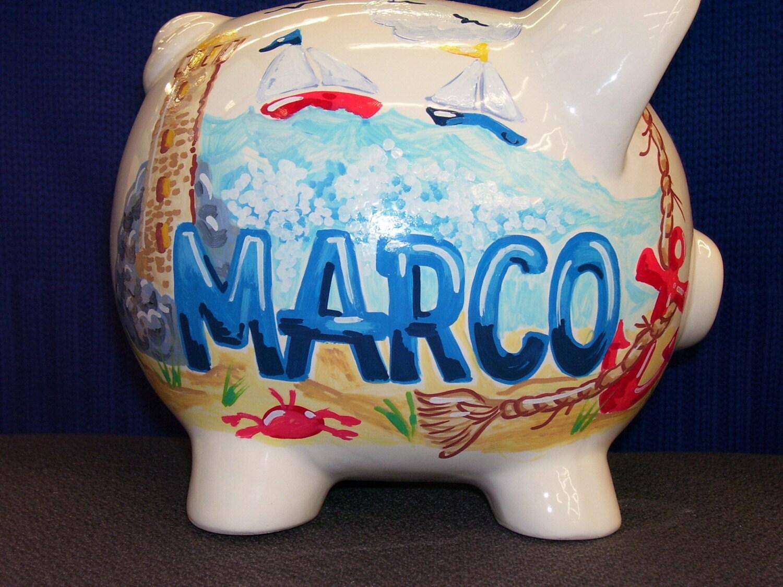 Piggy bank handpainted and personalized nautical theme - Nautical piggy bank ...