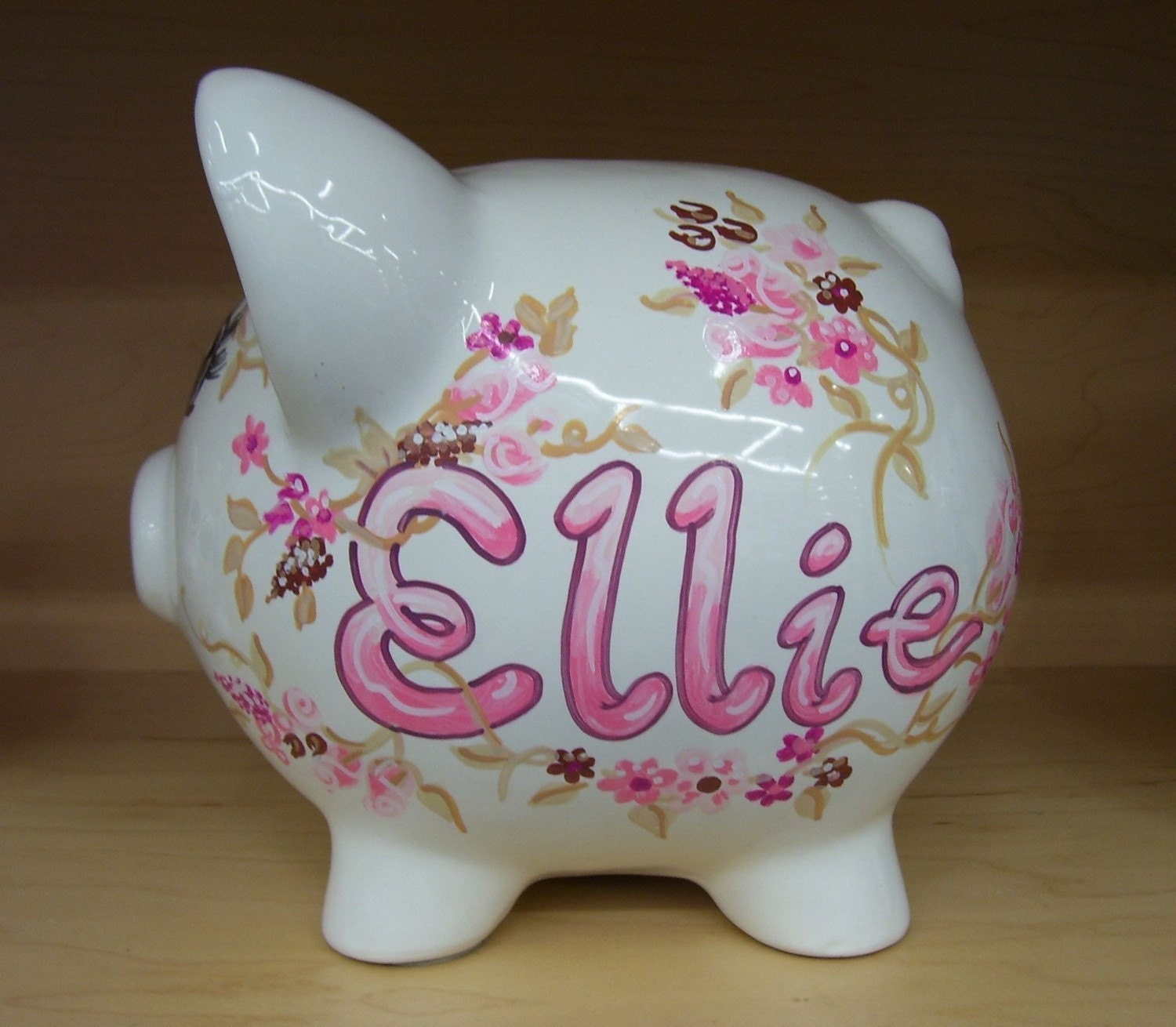 hand painted personalized piggy bank shabby chic pink and. Black Bedroom Furniture Sets. Home Design Ideas
