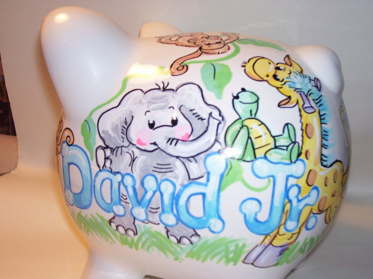Personalized piggy bank baby animals 2 boy pastels - Coin banks for boys ...