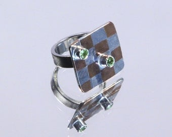 Marriage of Metal Checkerboard Ring