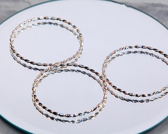 3 Twisted Metal Bangles