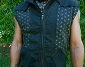 Large - Flower of Life Print Avatar Vest - Post Apocalyptic - Neo Tribal - Black and Gold
