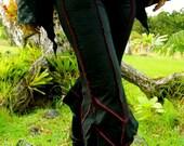 Medium - Black Leafy Pants - 3/4 Capri - Bloomers - Elvish - faerieworlds - woodland - Organic Cotton - Dance - Yoga