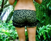 Extra Small - Black and Gold Shipibo Ruffle Shorts - Sacred Geometry Wearable Art  - Hand Screened - Bloomers - Bootie Shorts - Underwear