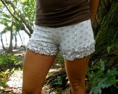 Large - White and Gold Flower of Life Ruffle Shorts - Sacred Geometry Wearable Art  - Hand Screened - Bloomers - Bootie Shorts - Underwear