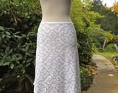 Large - White and Gold Shipibo Mid-calf Skirt - Hand Screened - Tribal Fusion - Seed of Life - Sacred Geometry