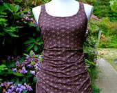 Small - Slinky Flower of Life Dress -  Burgundy and Gold - Tunic -Top - Sacred Geometry - Organic Cotton - Seed of Life