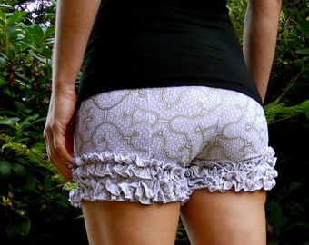 Extra Small - White and Gold Flower Shipibo Ruffle Shorts - Organic Cotton - Bloomers - Bootie Shorts - Underwear