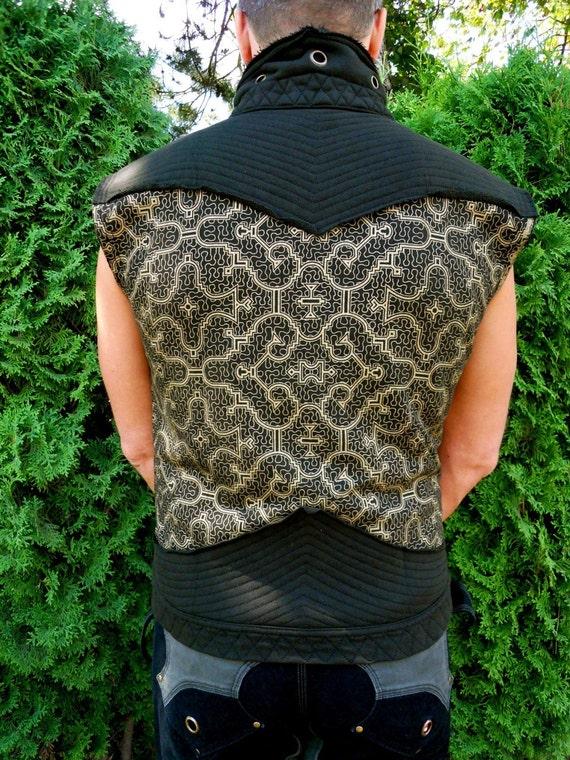 Medium - Gold Shipibo  Print  Vest - Shipibo Clothing- Post Apocalyptic - Neo Tribal