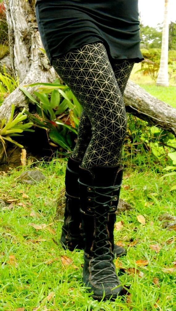 Medium - Gold Flower of Life Yoga Pants - Sacred Geometry  - Hand Screened - Dance - Leggings - Seed of Life