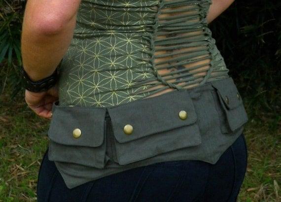 Small - Green - Cotton Canvas Pixie Pockets  - Woodland - Renaissance Fair - Elvish - Holster