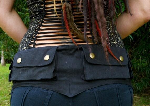 Large - Black -  Cotton Canvas Pixie Pockets - saddlebags - hip belt - Vegan