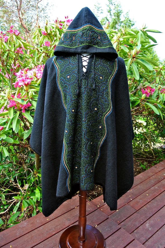 Long Alpaca Poncho with Shipibo Embroidery with Hood - One of a kind  - Hand Embroidered - For Man or Woman