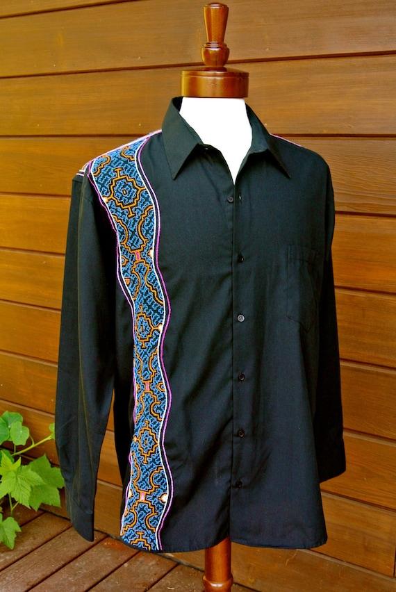 Medium - Black - Men's Shipibo Long Sleeve Shirt - Shipibo Visionary Art - One of a Kind - Ayahuasca Visions - Neo Tribal