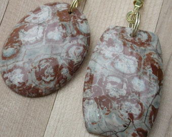 Fan Dangle / Eye Stones on Brass Light Pulls Switch Polished Cut Clay Red Putty Beige Henna
