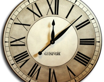 Large Wall Clock 30in OXFORD Linen Gallery Antique Style Family Heirloom Gift FREE INSCRIPTION